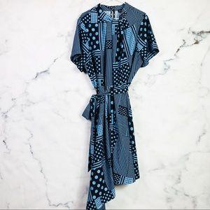 NEW Eloquii Striped Polka Dot Asymmetric Dress